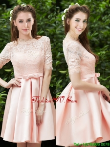 Lovely High Neck Short Sleeves Bridesmaid Dress with Lace and Bowknot