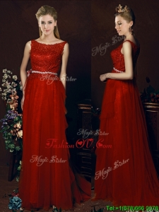 Popular Belted Empire Scoop Red Bridesmaid Dress with Brush Train