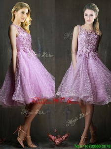 Popular See Through Beaded and Applique Bridesmaid Dress in Lavender