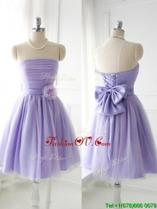 Simple Handcrafted Flower Tulle Lavender Bridesmaid Dress with Strapless