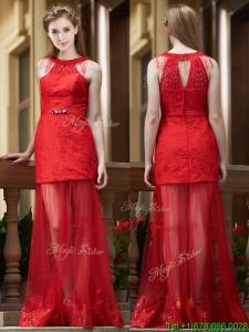 Cheap Belted Red Long Mother Groom Dress in Tulle and Lace