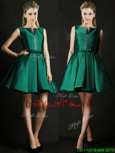 Classical A Line Green Short Mother Groom Dress with Beading and Belt