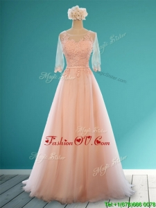 Classical Scoop Half Sleeves Bridesmaid Dress with Appliques and Belt