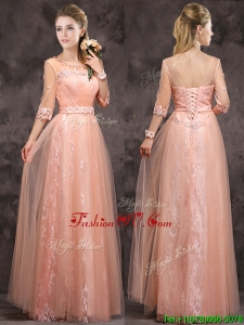 Exquisite See Through Applique and Laced Long Mother Groom Dress in Peach