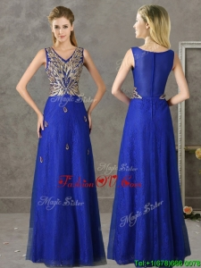Gorgeous V Neck Appliques and Beading Mother Groom Dress in Royal Blue