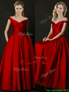 Latest Bowknot Wine Red Long Mother Groom Dress with Off the Shoulder
