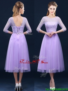 Latest Half Sleeves Tea Length Laced Mother Groom Dress in Lavender