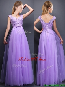 Lovely Beaded and Bowknot V Neck Mother Groom Dress in Lavender