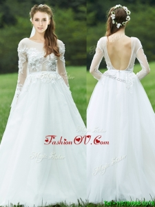 Pretty Applique White Backless Bridesmaid Dress with Long Sleeves