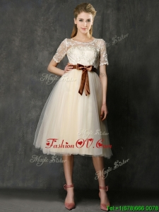 See Through Scoop Short Sleeves Mother Groom Dress with Bowknot and Lace