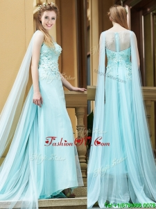Simple Bateau Applique Watteau Train Mother Groom Dress in Light Blue