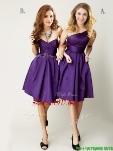 Top Selling Mini Length Ruching Mother Groom Dress in Purple