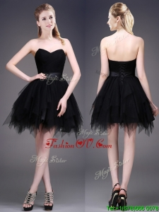 Best Selling Black Short Prom Dress with Ruffles and Belt