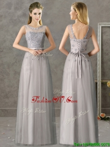Cheap See Through Scoop Grey Long Prom Dresswith Appliques