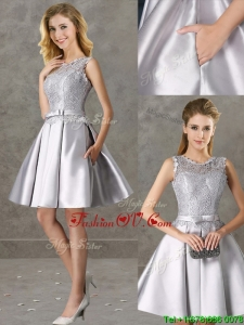 Classical Laced and Bowknot Scoop Prom Dress in Silver