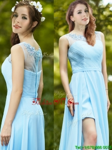 Elegant See Through Scoop Appliques Prom Dress in Light Blue