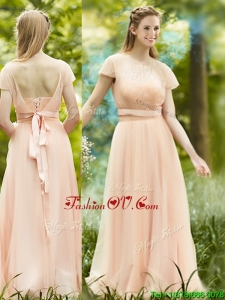 Elegant See Through Scoop Short Sleeves Prom Dress in Peach