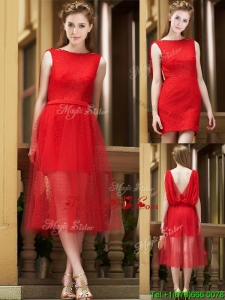 Exclusive Bateau Lace Tea Length Prom Dress in Red