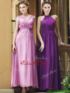 Exclusive Empire Chiffon Ankle Length Bridesmaid Dress with Ruching