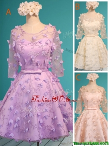Exclusive See Through Scoop Half Sleeves Prom Dres with Appliques and Belt