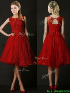 Modest Knee Length Red Prom Dress with Beading and Appliques