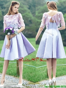 New Style Bateau Half Sleeves Lavender Prom Dress with Appliques