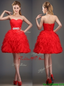 Perfect Really Puffy Red Prom Dress with Beading and Ruffles