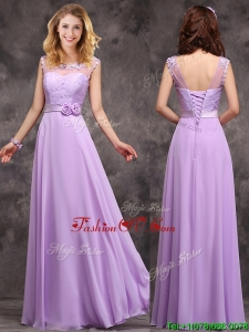 Popular See Through Applique and LacedProm Dress in Lavender