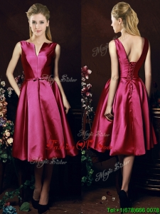 Popular V Neck Knee Length Bowknot Prom Dress in Fuchsia