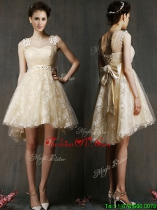 See Through Scoop Champagne Prom Dress with Hand Made Flowers and Bowknot