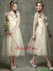 See Through Scoop Half Sleeves Prom Dress with Hand Made Flowers and Lace