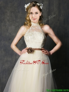 Sweet High Neck Champagne Prom Dress with Hand Made Flowers and Lace