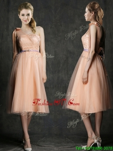 Wonderful One Shoulder Prom Dress with Sashes and Bowknot