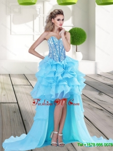 2015 Elegant Aqua Blue High Low Prom Dress with Beading and Ruffles