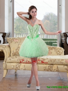 2015 Elegant Beading and Ruffles Prom Dress in Apple Green