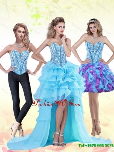 Aqua Blue High Low 2015 Prom Dress with Beading and Ruffles