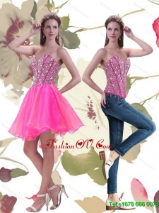 Elegant 2015 A Line Mini Length Hot Pink Prom Dress with Beading