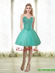 Elegant 2015 Beading and Appliques Sweetheart Prom Dress in Turquoise
