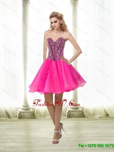 Elegant A Line Beading Sweetheart Prom Dress in Hot Pink