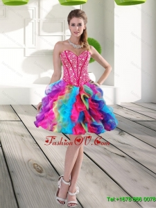 Elegant Beading and Ruffles Organza 2015 Prom Dress in Multi Color