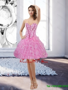 Elegant Rose Pink Sweetheart 2015 Prom Dress with Beading and Ruffles