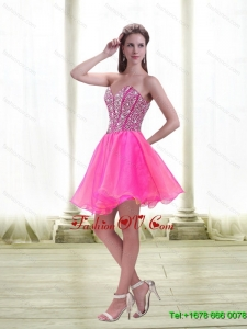 Popular A Line Beading 2015 Prom Dress in Hot Pink