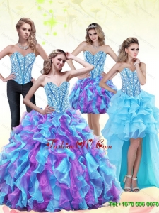 2015 Classic Beading and Ruffles Sweetheart Quinceanera Dresses in Multi Color