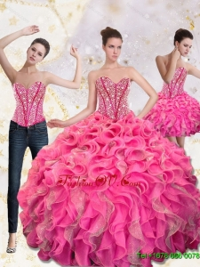 2015 Designer Sweetheart Quinceanera Gown with Beading and Ruffles