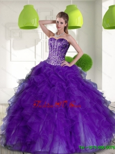 Beading and Ruffles Sweetheart 2015 Classic Quinceanera Dresses in Purple