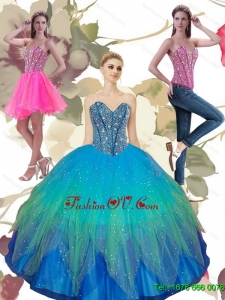 2015 Beading Sweetheart Tulle Sweet Sixteen Dresses in Turquoise
