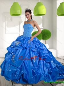 2015 Beading and Appliques Sweet Sixteen Dresses with Brush Train