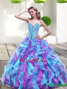 2015 Beautiful Sweetheart Multi Color Sweet Sixteen Dresses with Beading and Ruffles