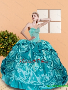 2015 Classical Sweetheart Teal Sweet Sixteen Dresses with Beading and Pick Ups