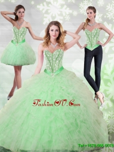 2015 New Style Beading and Ruffles Sweetheart Quinceanera Gown in Apple Green